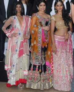 Colourful stone designer lehenga pink- fashionable bride 2011