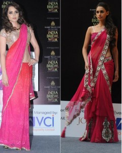 Pink orange trends for bridal week 2011-latest designer sarees