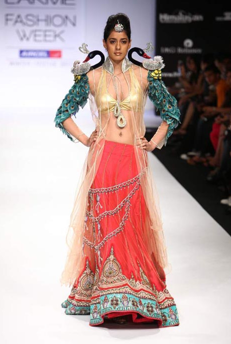 Peacock patterns fashoin trends 2011 Parvesh and Jai exotic bridal couture