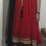 Designer Anarkali latest pattern 2011 |Fashionable red-black Anarkali dress