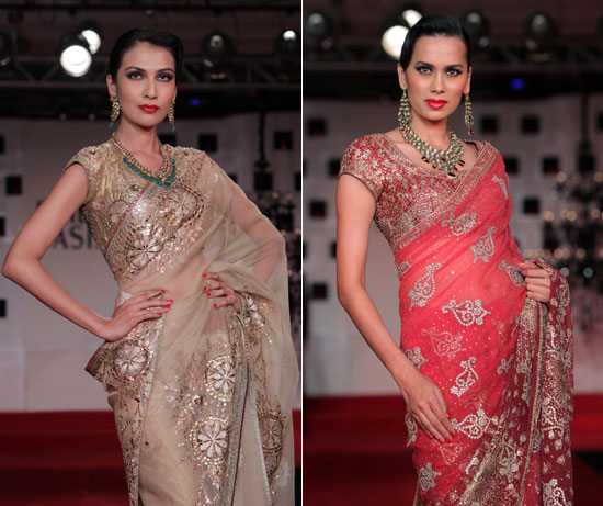 Raghuvendra-Gold and Red-designer-sarees-asia-bridal-fashion-week-2011