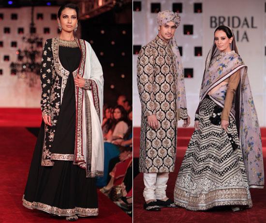 White and black-designer-lehenga-salwar-kameez-sarees-sabyasachi-asia-bridal-week-2011