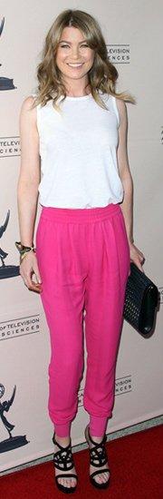 Ellen-Pompeo-Neon-Pink-Pant-Fashion-trends-2012