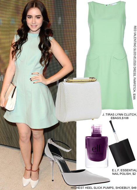 dress-like-lily-collins-with-mint-dress-fashion-trends-2012