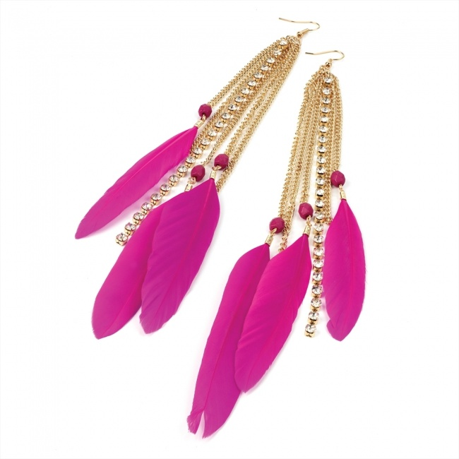 Hot-pink-spear-feather-earings-fashion-trends-2012