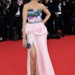 Frieda Pinto in Michael Angel Pink Peplum Dress at Cannes Internation Film Festival 2012
