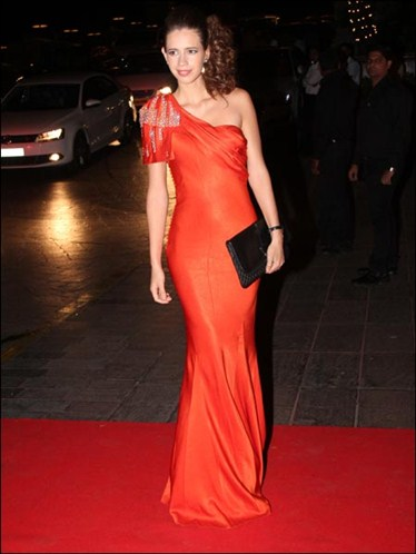 Kalki koechlin in Orange one-shoulder gown-karan-johar-birthday-bash-2012