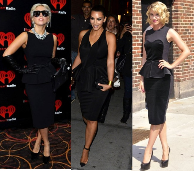 Lady-gaga-Kim-K-Daina-Argon-Peplum-dress-2012