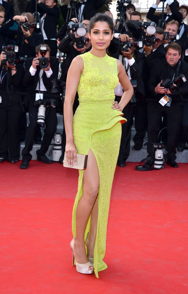 cannes 2012 freida pinto celebrity fashion trends versace gown