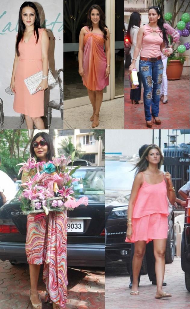 coral fashion trends-celebrities-anu-dewaan-manyata-dutt-rashmi-nigam-zeenat-aman-2012