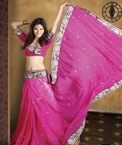 Pink designer saree buy online celebrity style fashionable dresses at Fashion ka fatka