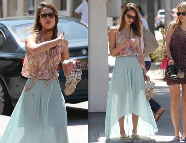 Jessica-Albas-mint-green-skirt-or-Kate-Bosworths-celebrity-fashion trends 2012
