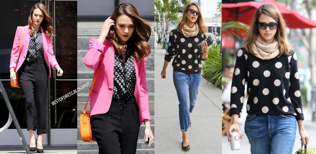 Polka-dot-tops-shirts-jessica-alba-celebrity-latest-fashion-trends-2012