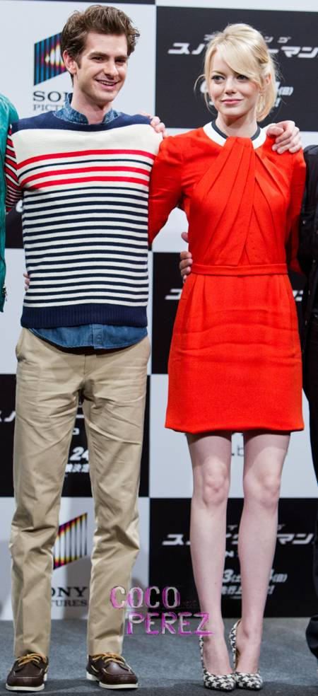 emma stone in orange dress fashion 2012