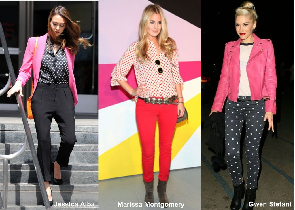 jessica alba-marissa-montgomery-gwen-steffani-polka-dot pants and tops-fashion trends 2012