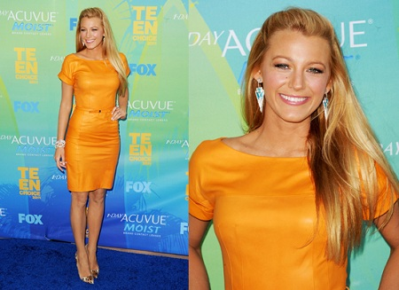blake lively in orange dress fashion trends 2012