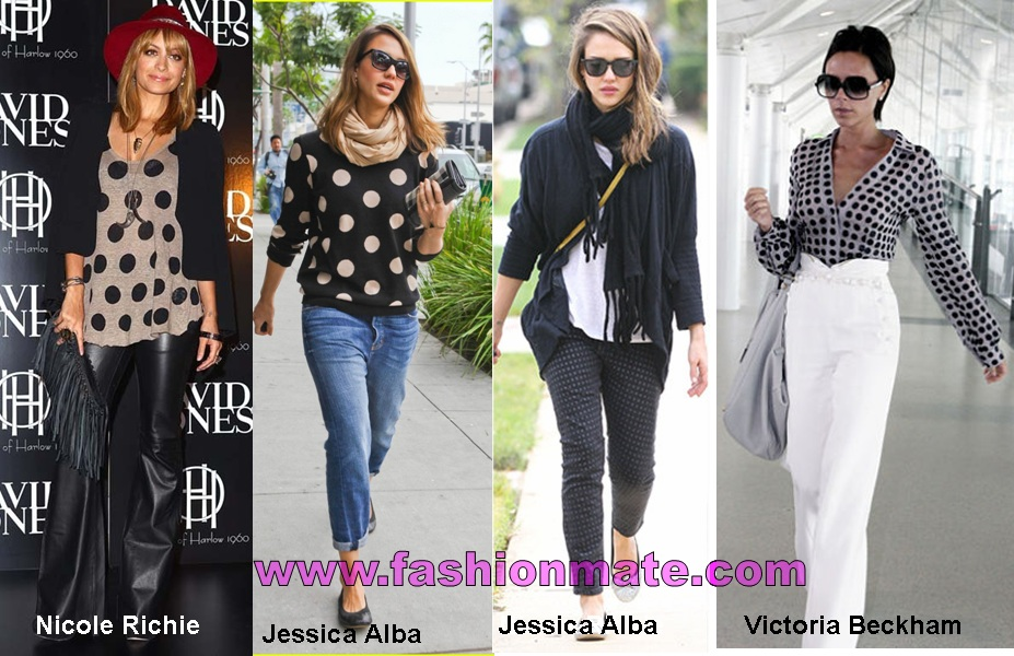 polka dots-spot-top-pant-celebrity-nicole-richie-jessica-alba-victoria-beckham-fashion-trends-2012