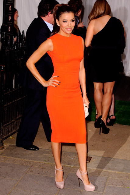 Eva longoria in Orange dress fashion 2012