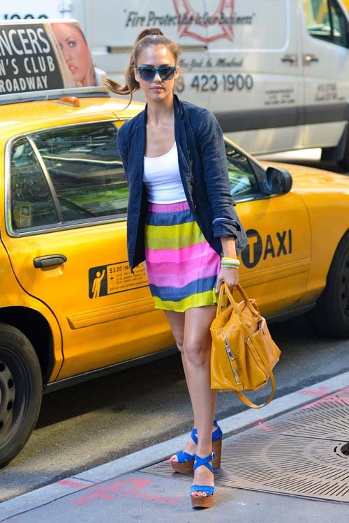 07ed7efe98 Jessica-Alba-Navy-Blazer-Thierry-Lasry-Sunglasses -Elle-Lauri-Striped-Skirt-and-Ralph-Lauren-Sandals