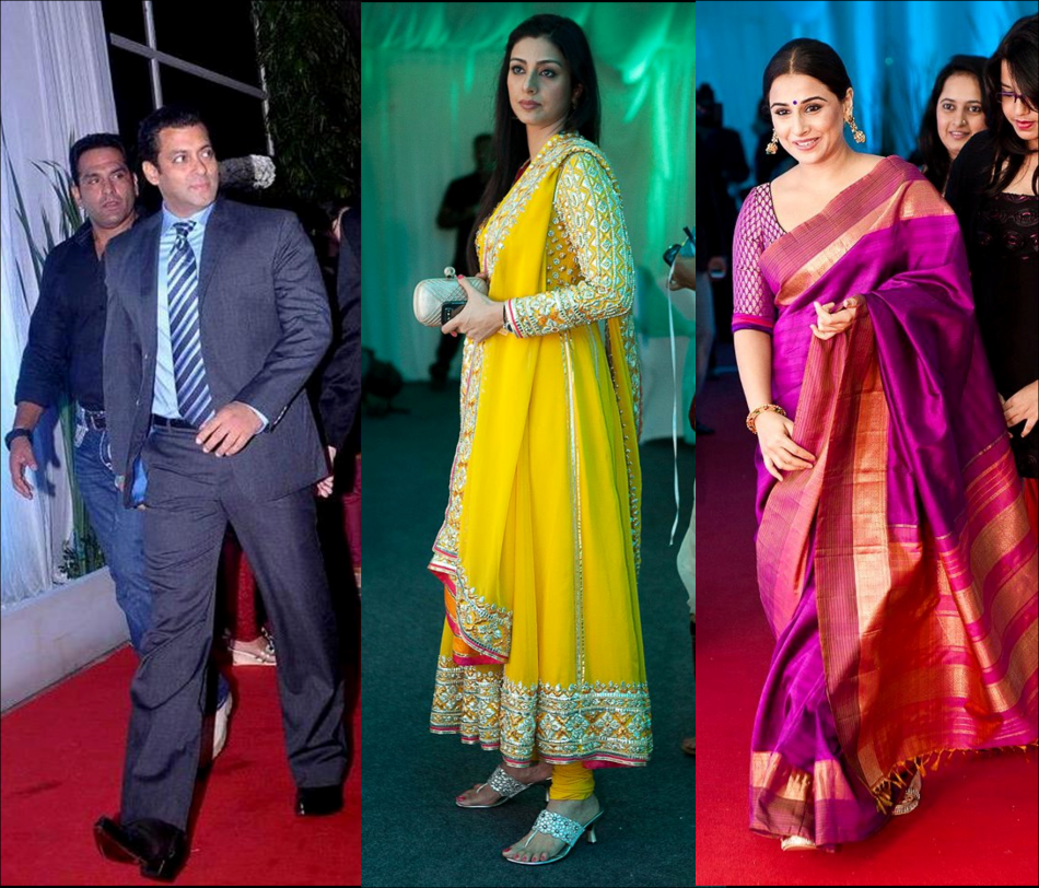 Celebrity spotting at esha deol wedding reception salman khan vidhyabalan tabu