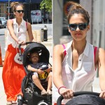 Jessica Alba in Orange and Pink| Latest Fashion Trends 2012