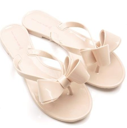 bow shaped flipflops candy colour fashion footwear for women