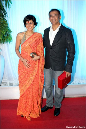 Bollywood actress Mandira Bedi in designer saree at Esha Deol Wedding Reception
