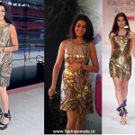 Genelia D'souza in Pia Pauro Gold Dress| Spring Collection Lakmé Fashion Week 2012