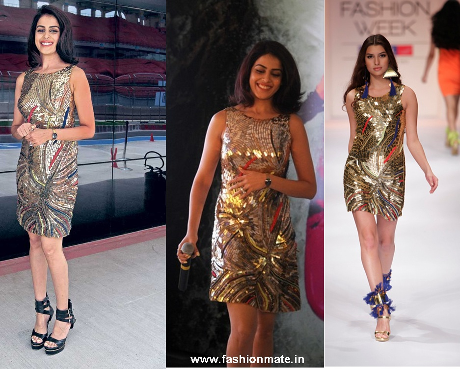 Genilia Dsouza in Pia Pauro Spring 2012 Gold Dress from Lakme Fashion Week 2012