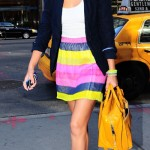 Jessica Alba in Candy Coloured Striped Skirt | Elle Laurie Skirt and Marc Jacobs Bag