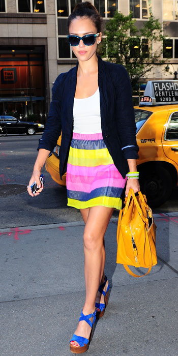 Jessica-Alba-in-Striped-Elle-Laurie-Skirt-Candy Colour Fashion