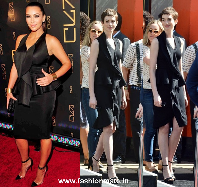 Kim Kardashian and Anne Hathaway in Givenchy black peplum dress