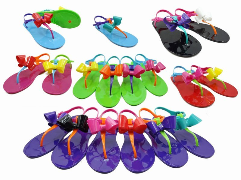 candy coloured plastic sandals for women rain wear