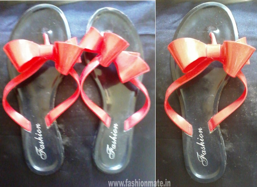colourfull jelly sandals flipflops red-black bow for rains 2012