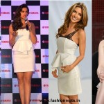 Deepika, Lucy, Audrina Who wore it Better?| Alice + Olivia Diana Leather and Lace White Peplum Dress