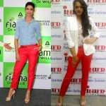 Deepika v/s Hazel. Who rocks the red Zara Pants Better?
