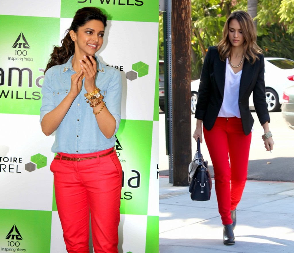deepika padukone-jessica-alba in red pants