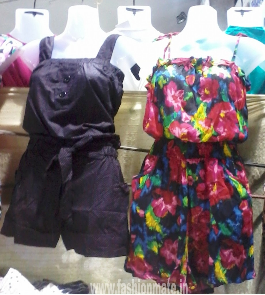 floral and polka dot short jumpsuit for rains- monsoon fashion trends 2012