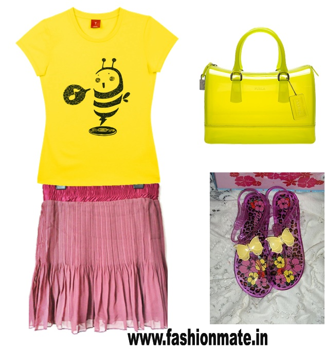 monsoon fashion wear-rain gear-yellow tshirt-summer wine red skirt jelly sandals