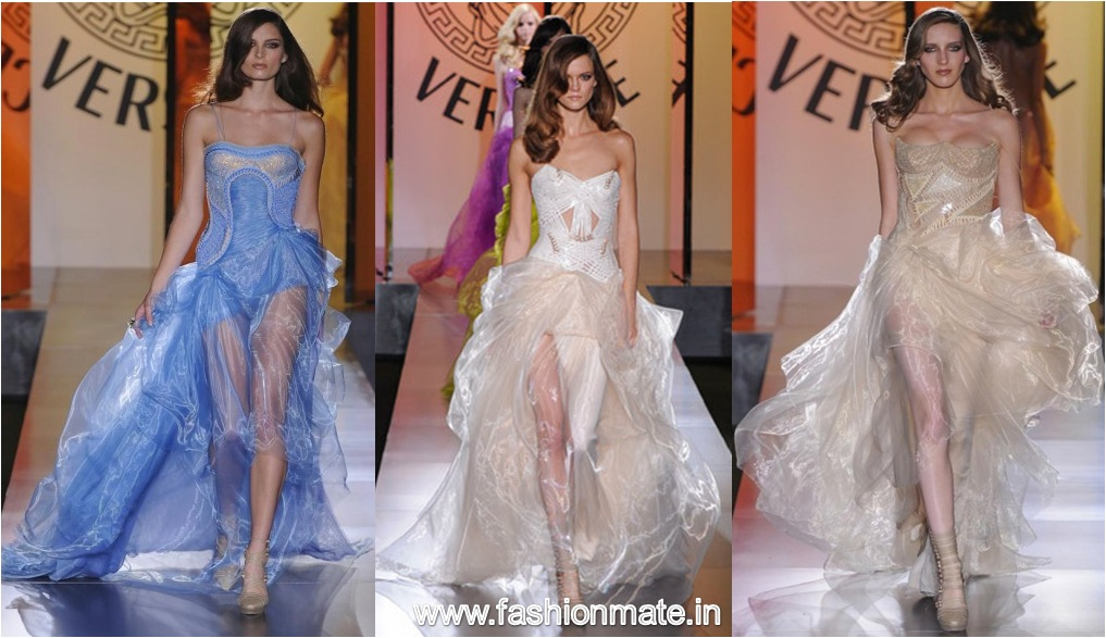 transparent chiffon dresses at Versace Winter Fall 2012-13 Haute Couture show- Paris Fashion Week
