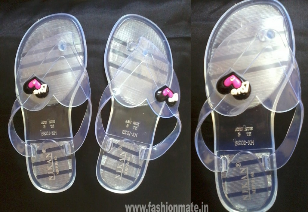 waterproof monsoon transparent plastic jelly sandals with hearts for rains