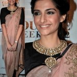 Stunning Sonam Kapoor in Anamika Khanna at Delhi Couture Week 2012