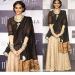 Madhuri Dixit and Sonam Kapoor walk the ramp at IIJW 2012