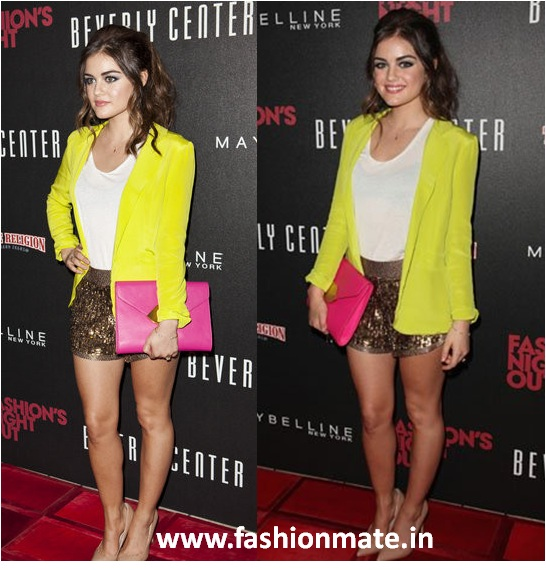 lucy hale candy colour blazer fashion trend