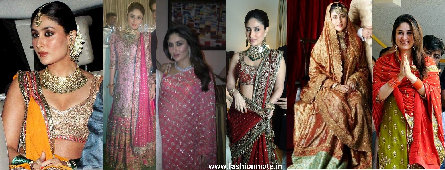 Bride Kareena Kapoor Wedding, Nikah, Sangeet Mehendi Dress