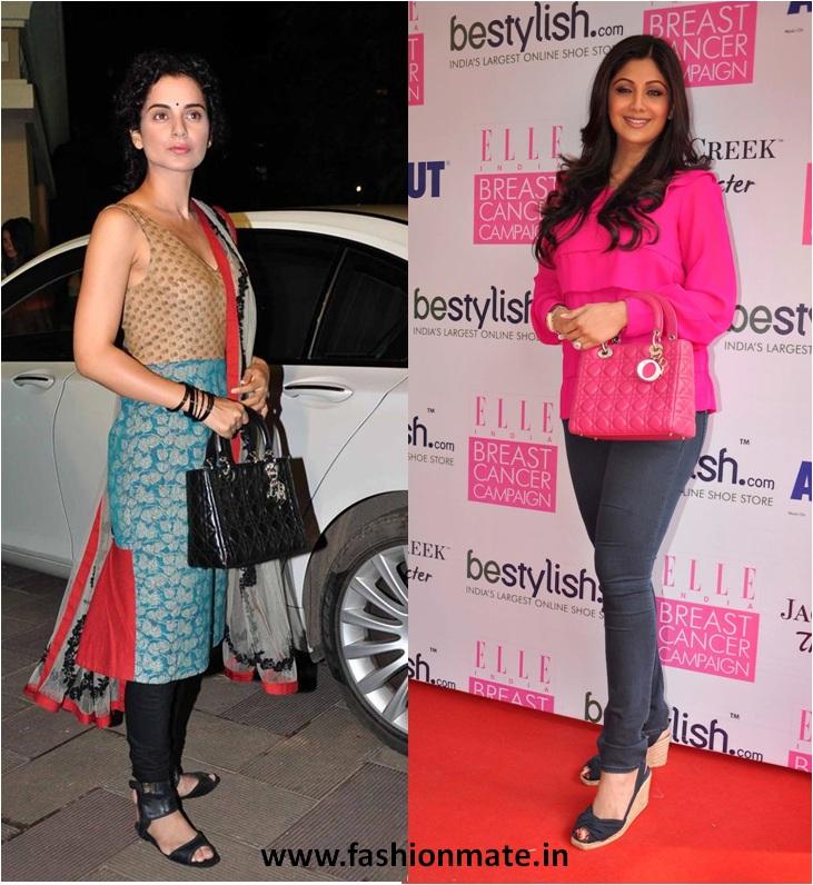 Kangana Ranaut and Shilpa Shetty in Dior at Sanjay Manyata Chawki