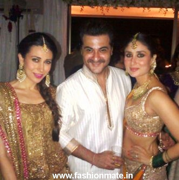 Kareena Karishma with Sanjay Kapoor at Kareena's Sangeet Ceremony