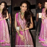 Malaika Arora Khan in Shehla Khan Lehenga at Saif Kareena Sangeet Ceremony