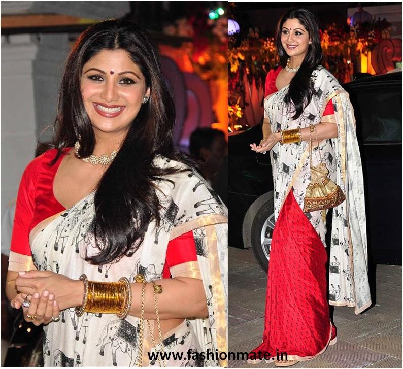 Shilpa Shetty in Masaba Gupta Cow-print Saree at Sanjay-Manyata Matakichawki