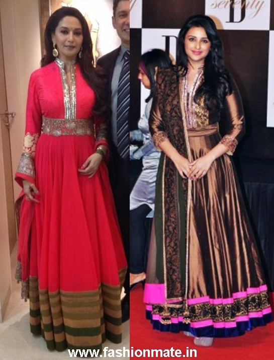 Dixit and Parineeti Chopra in similar Manish Malhotra Anarkali dress
